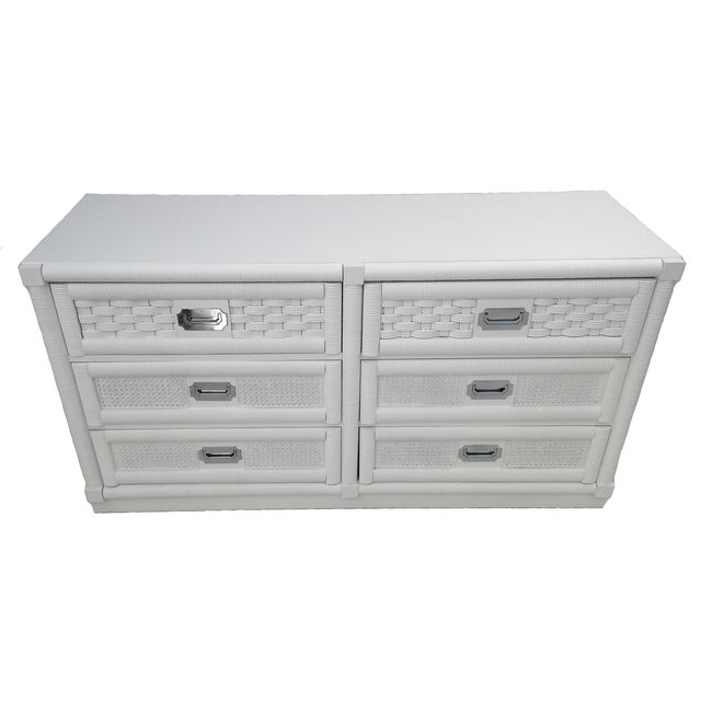 Dixie Lacquered Campaign Wicker Weve Dresser For Sale