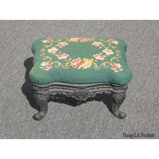 Vintage French Provincial Green Needlepoint Footstool W Ornate Cast Iron Base For Sale - Image 12 of 12