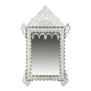 1990s White Mother of Pearl Inlaid Mirror For Sale