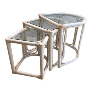 Vintage McGuire Rattan & Bamboo Nesting Tables - Set of 3