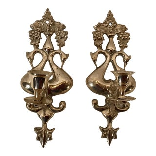 Vintage Brass Swan Candle Wall Sconces - A Pair