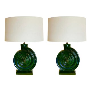 1950s Stiffel Green Ceramic Nautilus Seashell Table Lamps - a Pair For Sale