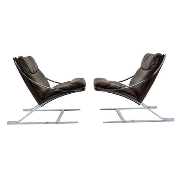 Paul Tuttle 1960s Brown Leather Zeta Chairs - Pair - Image 1 of 10
