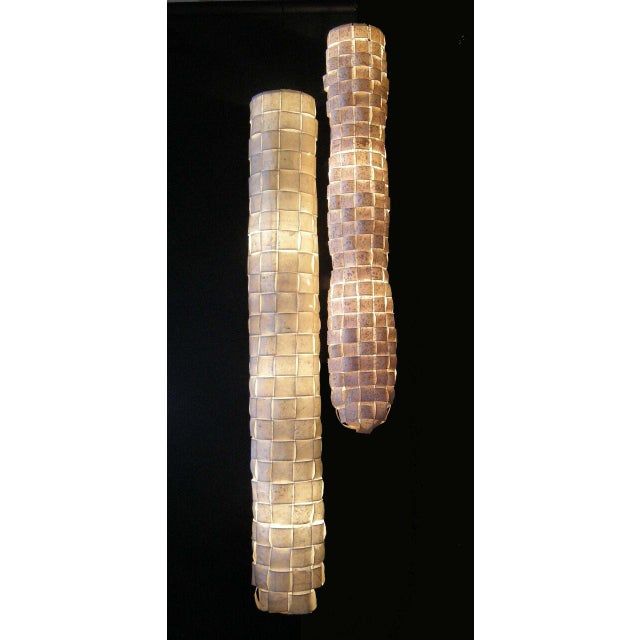 Large Hanging Tube/Cocoon Like Handwoven Paper Lights - Image 3 of 9