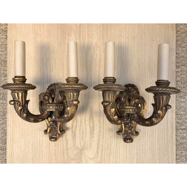 1920s Traditional Wood Carved Two Arms Antique Gilded Wall Sconces - a Pair For Sale In Los Angeles - Image 6 of 6