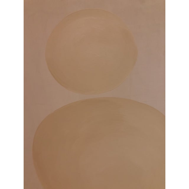 Hannah Polskin original 2018 beige and white abstract acrylic painting on plywood. Zen motif with monochrome color...