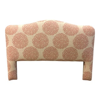 Queen Size Custom Fabric Camelback Headboard For Sale