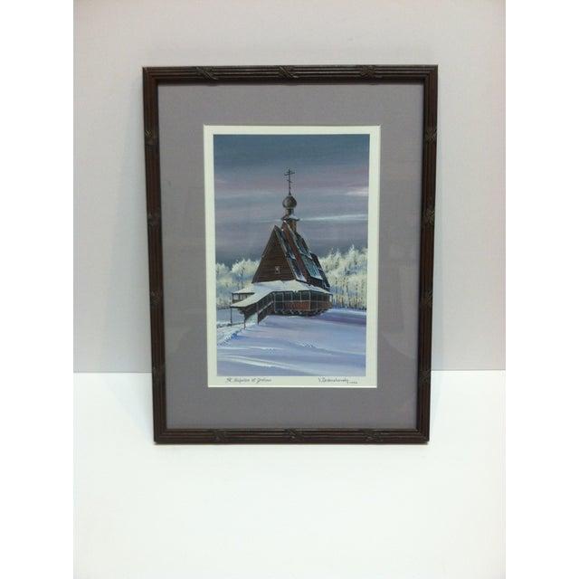"1990s 1990s v. Drobashlevsky ""St. Nicholas at Grotove"" Framed & Matted Original Painting For Sale - Image 5 of 5"