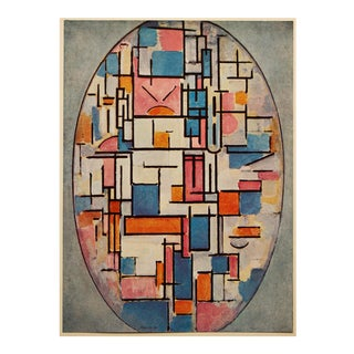 """1958 After Piet Mondrian """"Color Squares in Oval"""" Vintage Full Color Print From England For Sale"""