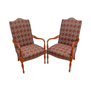 Sam Moore Sheraton Style Library Arm Chairs - A Pair