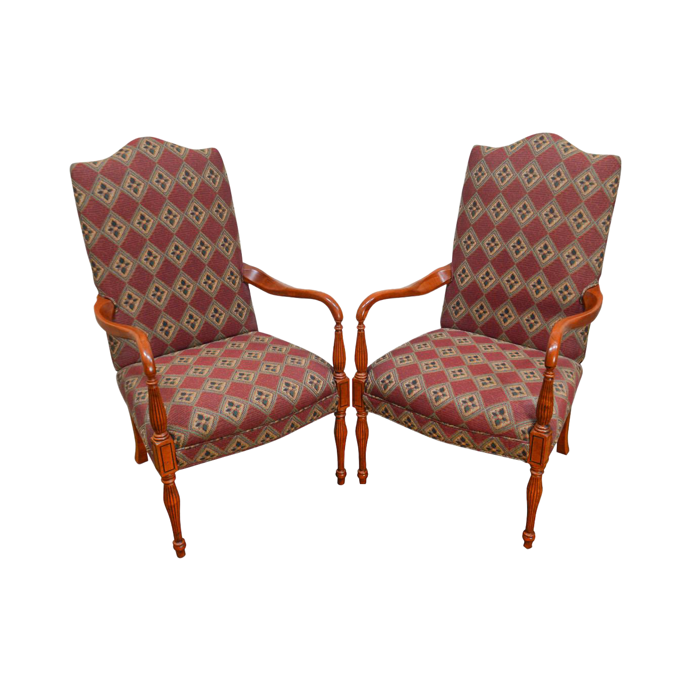 Sam Moore Sheraton Style Library Arm Chairs   A Pair