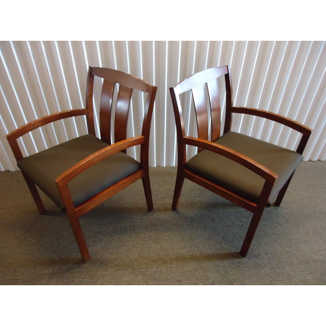 Brown Kimball Dining Arm Chairs With Brown Fabric - Set of 4 For Sale - Image 8 of 13