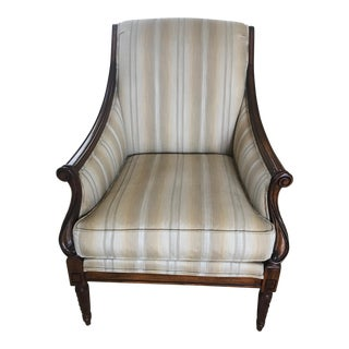 Drexel Heritage Neutral Stripe Bergere Chair For Sale