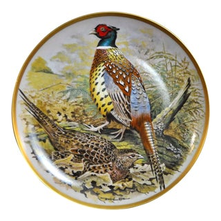 Franklin Limoges Porcelain Wall Plate Gamebirds Motif Limited Edition 1979 France Chinese Pheasant For Sale