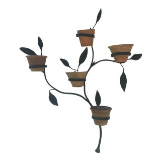 1970s Wrought Iron Garden Plant Holder For Sale