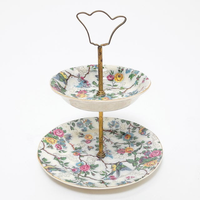 English Barker Bros Royal Tudor 2-Tiered Serving Tray For Sale - Image 3 of 6