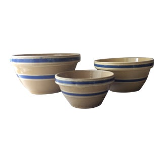 Vintage Yellow Ware Mixing Bowls - Set of Three For Sale