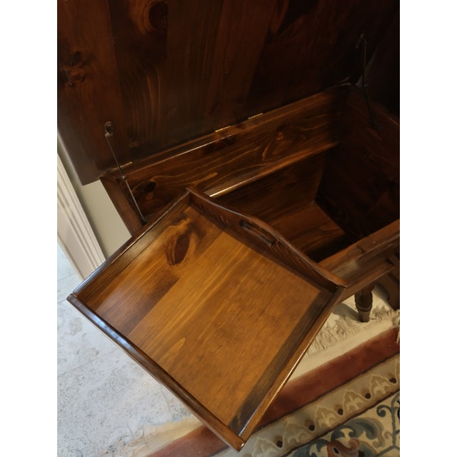 1960s Vintage Sugar Pine Dough Trough End Table For Sale - Image 5 of 7