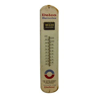 "Vintage Metal Advertising Thermometer - ""Delco Batteries"" For Sale"