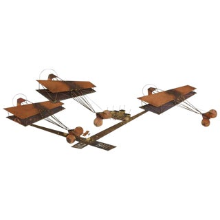 Exceptional Signed Curtis Jere Brass Wall Sculpture of Airplanes and Airfield For Sale