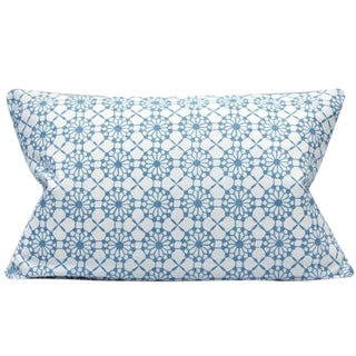Candida Porcelain Blue and White Print Lumbar Pillow Cover For Sale