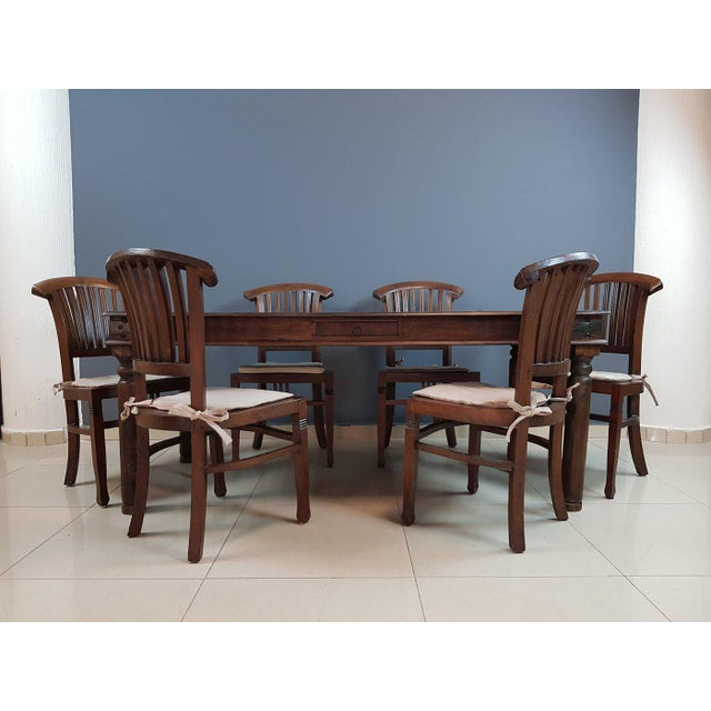 Indian Vintage Wood Colonial Dining Set Table and 6 Chairs For Sale - Image 3 of 13