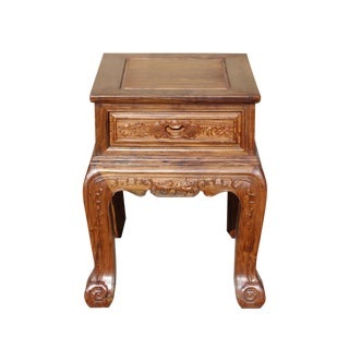Chinese Oriental Huali Rosewood Flower Motif Tea Table Stand For Sale