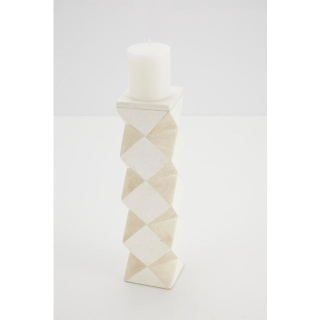 1990s Convertible Faceted Postmodern Tessellated Stone Candlestick or Vase For Sale In Los Angeles - Image 6 of 8