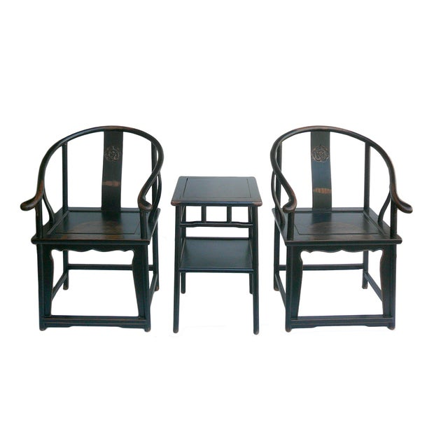 Chinese Black Lacquer Elm Armchairs & Side Table - Image 2 of 6