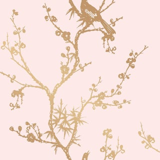 Bird Watching,Rose Pink and Gold Wallpaper For Sale