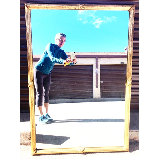 Large Decorative Gold Leaf Framed Mirror. This mirror would look great in an entranceway, a living or dining room. Wire...