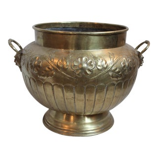 Brass Repousse Cachepot For Sale