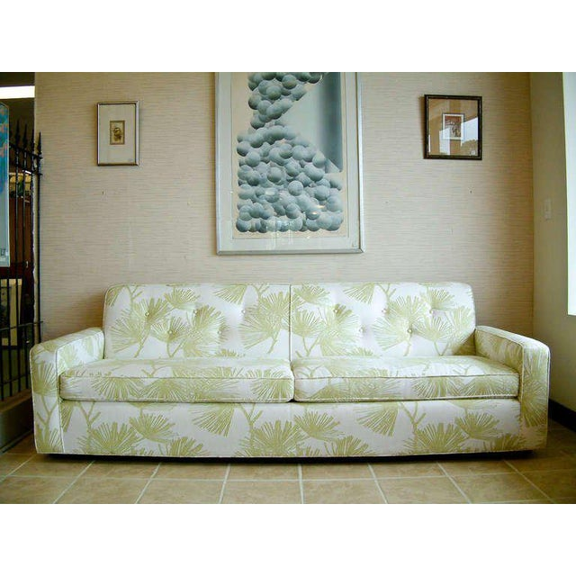 Circa 1950 Mid-Century T. H. Robsjohn-Gibbings Cream and Green Custom Wan Sofa For Sale In Richmond - Image 6 of 9