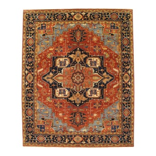 Pasargad Fine Indo Hand-Knotted Serapi Rug - 8′ × 9′11″ For Sale