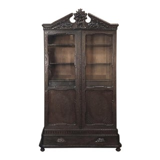 19th Century Dutch Hand Carved Flack Forest Vitrine by Horrix For Sale