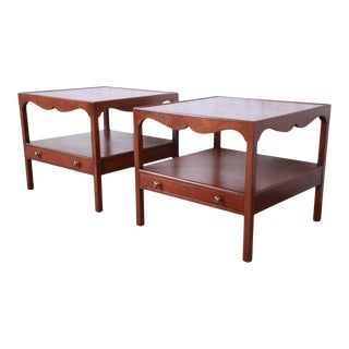 Kittinger American Colonial Walnut End Tables or Nightstands, Newly Restored - a Pair For Sale