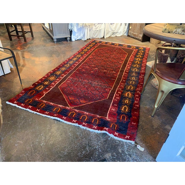 "Textile Hand-Tied Red Persian Kolia Rug 4'11 X 8'10"" For Sale - Image 7 of 13"