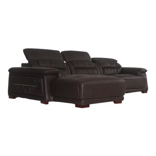 Pasargad DC Turin Leather Right Hand Facing Sectional For Sale