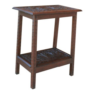 Antique English Oak End Table 2-Tier Highly Carved Trees Vines Side Table For Sale