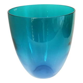 Large Vintage Murano Signed Barbini Vase - Blue Green Ombre For Sale