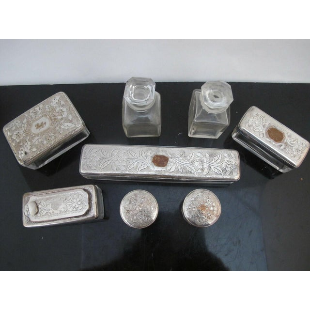 Silver Antique Wood Vanity Jewelry Box Glass with Sterling Silver Jars & Key Betty Mono For Sale - Image 8 of 12