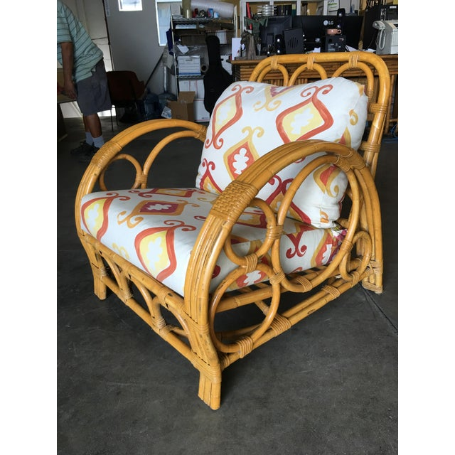 "Restored Three Strand ""Circles and Speed"" Rattan Lounge Chair With Ottoman For Sale - Image 4 of 9"