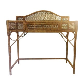 1970s Vintage Rattan Boho Writing Desk / Console For Sale