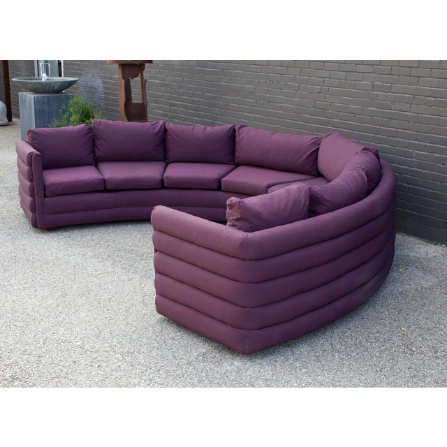 Milo Baughman for Thayer Coggin 1970s Channel Back Semi-Circular Sectional Sofa For Sale In Dallas - Image 6 of 12