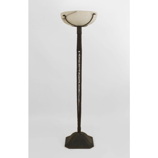 Excellent french art deco c 1930 wrought iron floor lamp decaso french art deco c 1930 wrought iron floor lamp image 5 of mozeypictures Images