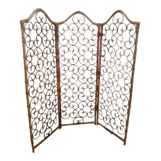 Vintage Three Panel Rattan Screen Room Divider For Sale