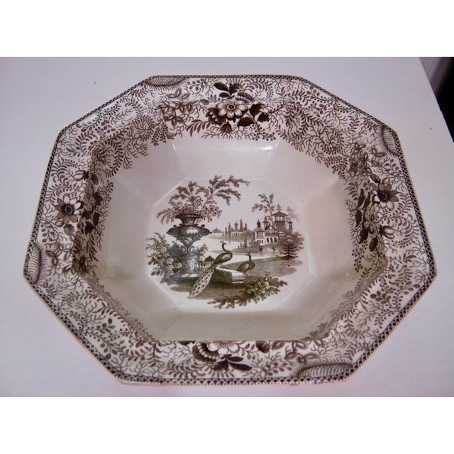 Staffordshire Antique Brown & White Transfer Staffordshire Covered Vegetable For Sale - Image 4 of 8