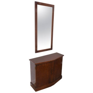 American Mid-Century Modern Burlwood Two-Piece Console / Cabinet and Mirror Set For Sale