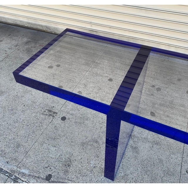 Custom Bench in Deep Blue and Clear Lucite by Cain Modern For Sale - Image 10 of 13