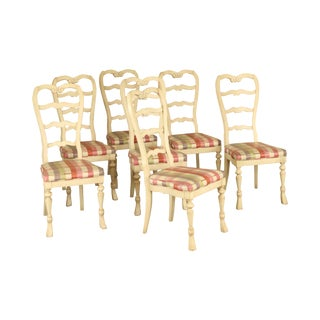 French Country Custom White Painted Set 7 Ladder Back Dining Chairs For Sale